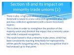 section 18 and its impact on minority trade unions 2
