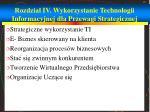 rozdzia iv wykorzystanie technologii informacyjnej dla przewagi strategicznej