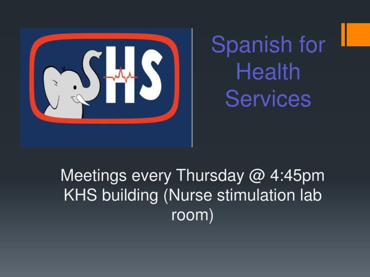 Spanish for Health Services