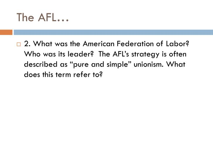 The AFL…
