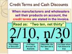 credit terms and cash discounts
