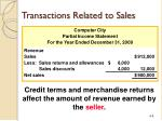 transactions related to sales