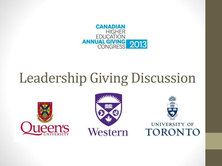 leadership giving discussion n.