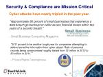 security compliance are mission critical