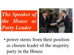 the speaker of the house as party leader