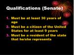 qualifications senate