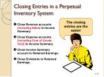 closing entries in a perpetual inventory system