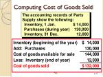 computing cost of goods sold