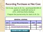 recording purchases at net cost