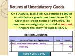 returns of unsatisfactory goods