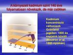 a k rnyezeti kadmium szint 140 ve folyamatosan n vekszik de m r cs kken