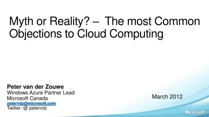 myth or reality the most common objections to cloud computing n.