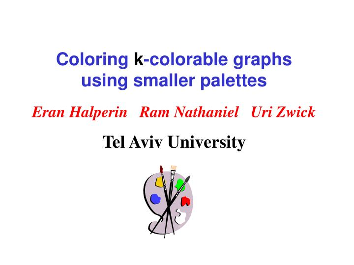 coloring k colorable graphs using smaller palettes n.