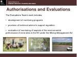authorisations and evaluations1