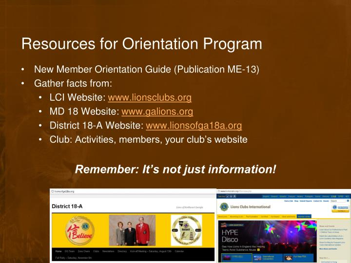 Resources for Orientation Program