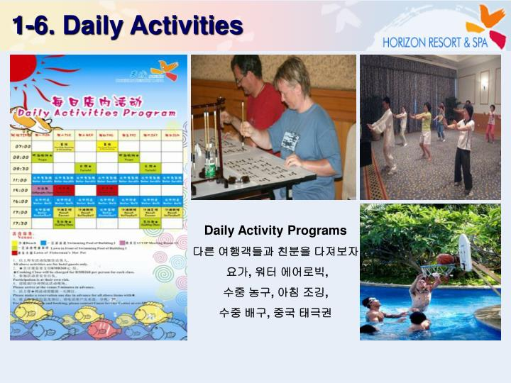 1-6. Daily Activities
