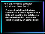 how did johnson s campaign capitalize on these fears