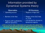 information provided by dynamical systems theory