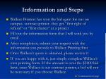 information and steps