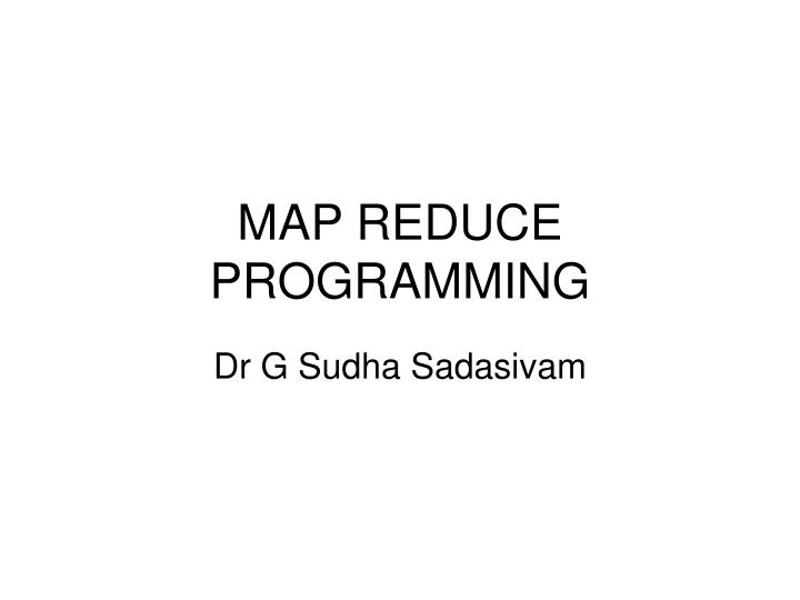 map reduce programming n.