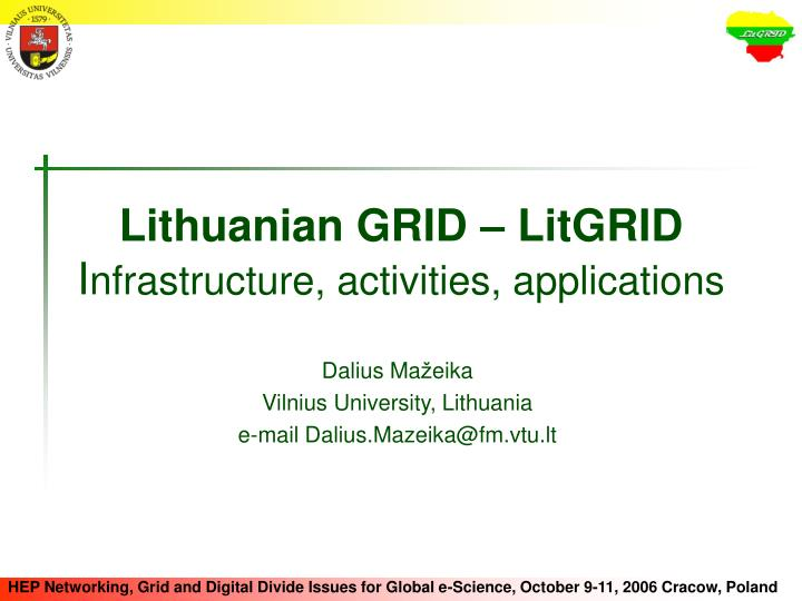 lithuanian grid litgrid i nfrastructure activities applications n.