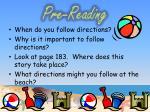 pre reading