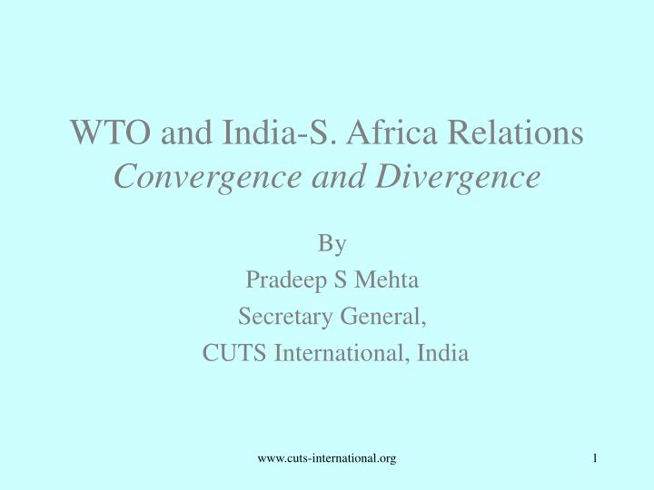 wto and india s africa relations convergence and divergence n.