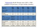 emigraci n desde europa entre 1821 y 1940 millones de personas excepto medias anuales