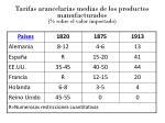 tarifas arancelarias medias de los productos manufacturados sobre el valor importado