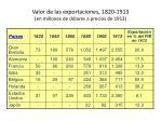 valor de las exportaciones 1820 1913 en millones de d lares a precios de 1913