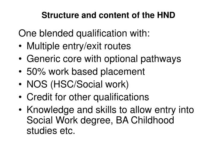 Structure and content of the HND
