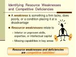 identifying resource weaknesses and competitive deficiencies