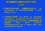 elementi innovativi del t u c
