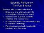 scientific proficiency the four strands