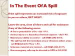 in the event of a spill