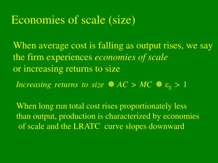 Economies of scale (size)
