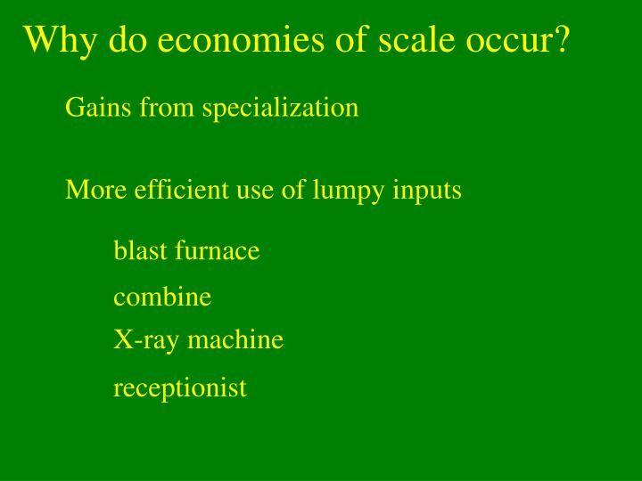 Why do economies of scale occur?