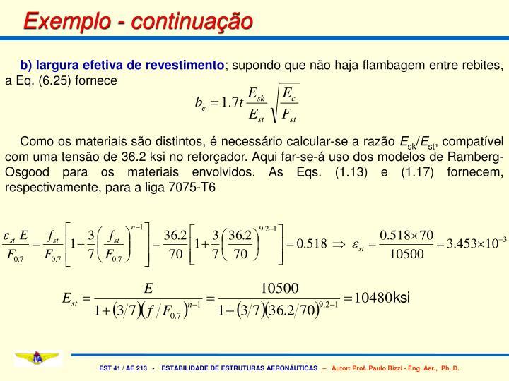b) largura efetiva de revestimento