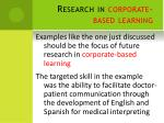 research in corporate based learning
