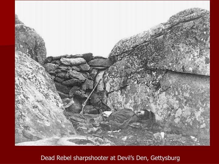 Dead Rebel sharpshooter at Devil's Den, Gettysburg