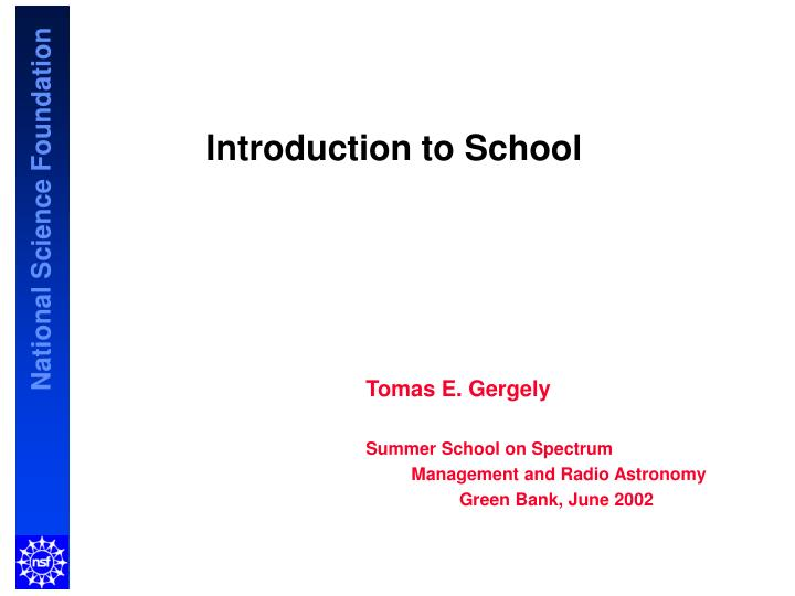 introduction to school n.