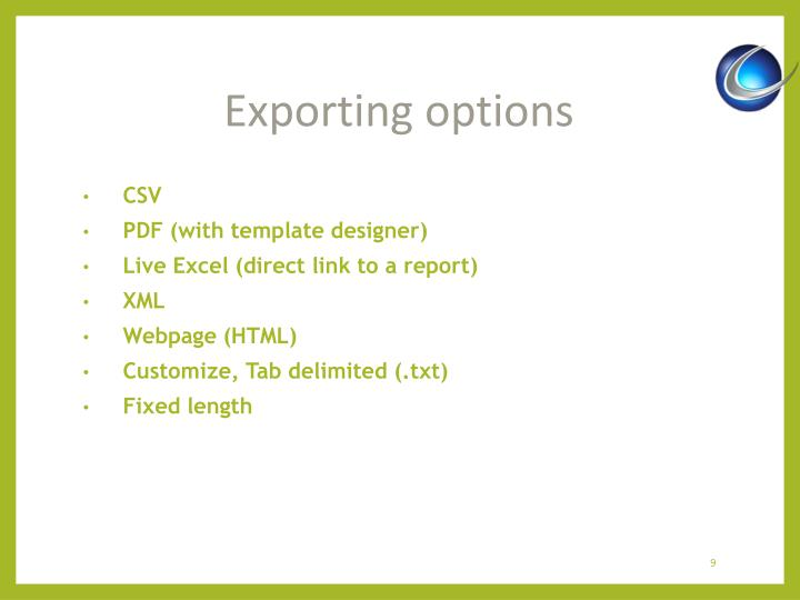 Exporting options