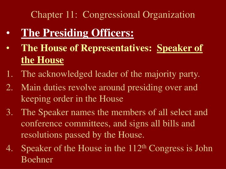 chapter 11 congressional organization n.