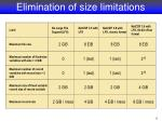 elimination of size limitations