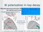 w polarization in top decay