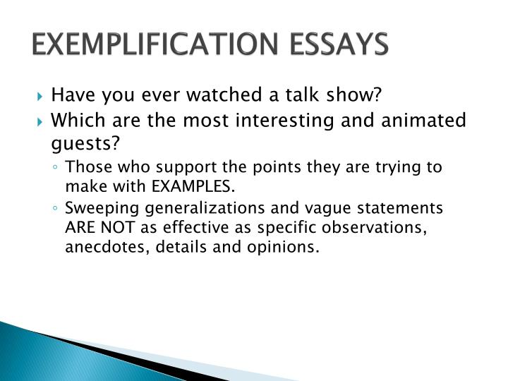 PPT The Exemplification Essay PowerPoint Presentation ID 5640270