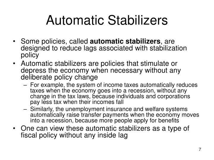 how automatic stabilizers are used to combat inflation Fiscal policy automatic stabilizers contractionary fiscal policy used to combat inflation is defined as a decrease in government expenditures.