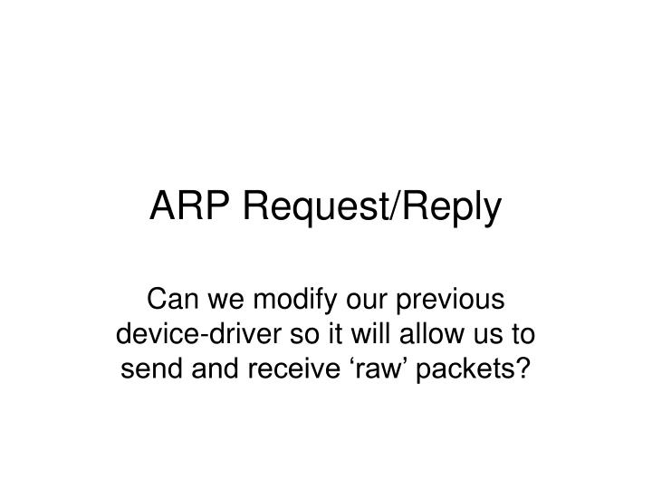 arp request reply n.