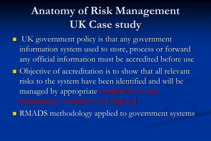 risk management a case study of Although our client believed it had strong risk management capabilities in its operational areas, we helped them implement a more structured approach.