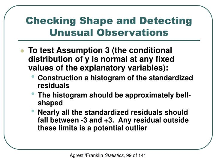 Checking Shape and Detecting Unusual Observations